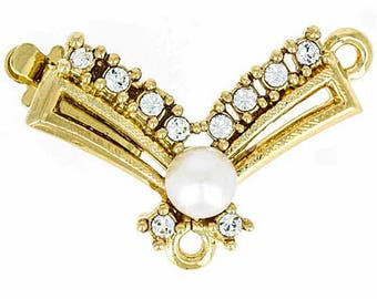 One-Strand Pearl and Swarovski Crystal Festoon Necklace Box Clasp Without Drop in Gold or Rhodium, 23x16mm