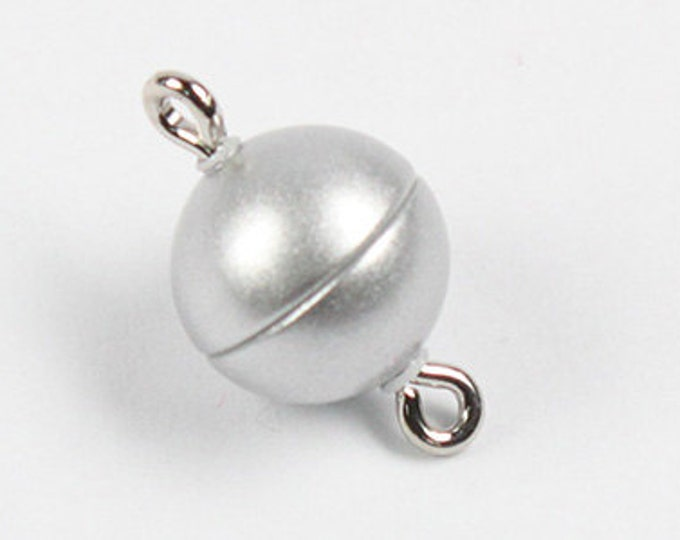 Matte Silver Magnetic Clasps in Four Sizes - 8mm, 10mm, 12mm, and 15mm