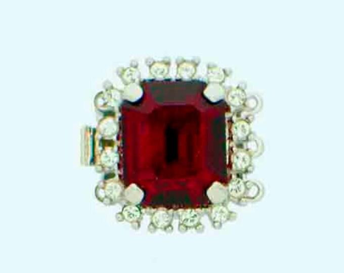 Three-Strand Large Center Stone Swarovski Crystal Clasp in Siam with Rhodium Setting, 17x15.5mm