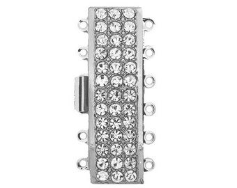 Six-Strand Rectangular Cuff Bracelet Clasp with Swarovski Crystals in Gold or Rhodium Finish, 12x40mm