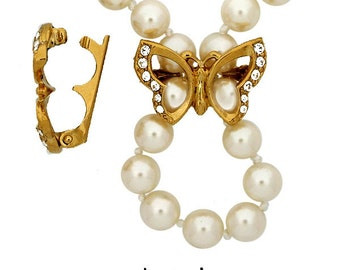 Butterfly Necklace Enhancer (Pearl Shortener) in Gold or Rhodium Finish with Swarovski Crystals for 6-8mm Beads, 22x15mm