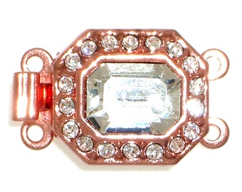 Octagon-Shaped Two-Strand Clasp in Bright Copper Finish with Swarovski Crystals, 14x12mm