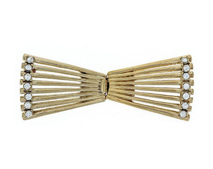 Nine Strand Art Deco Box Clasp in Gold or Rhodium with Swarovski Crystal Trim, 23x60mm