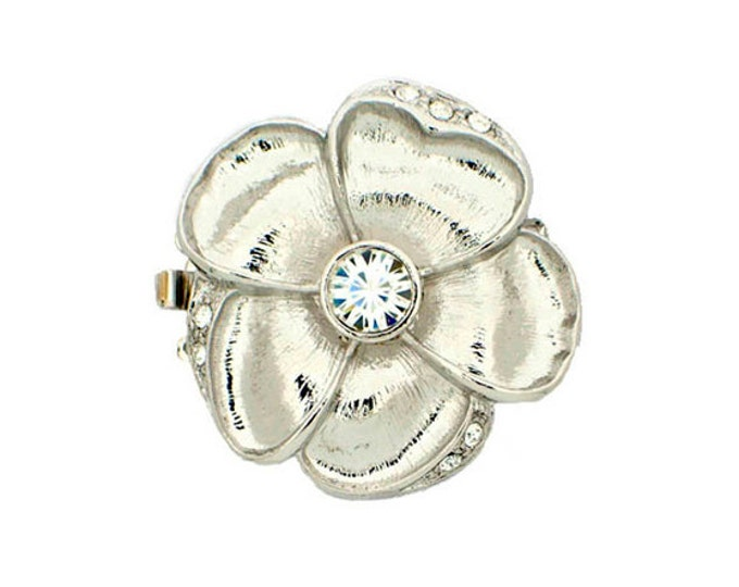 Medium One-Strand Flower Clasp with Swarovski Crystal Centers, in Rhodium or Gold Finish, 22mm