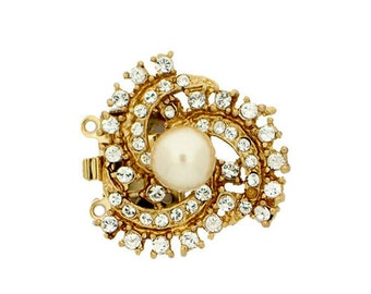 """Two-Strand """"Spiral Galaxy"""" Pearl Necklace Box Clasp With Swarovski Crystals in Gold or Rhodium Finish, 21mm"""