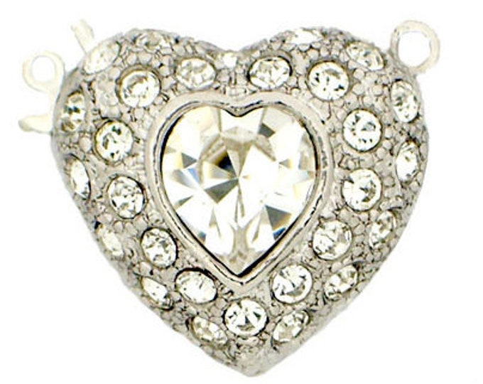 One-Strand Wedding-Perfect Swarovski Crystal-Covered Heart Fishhook Clasp in Rhodium or Gold Finish, 19x20mm