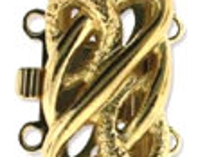 Two-Strand Open-Work Box Clasp in Gold or Rhodium Finish, 16x10mm