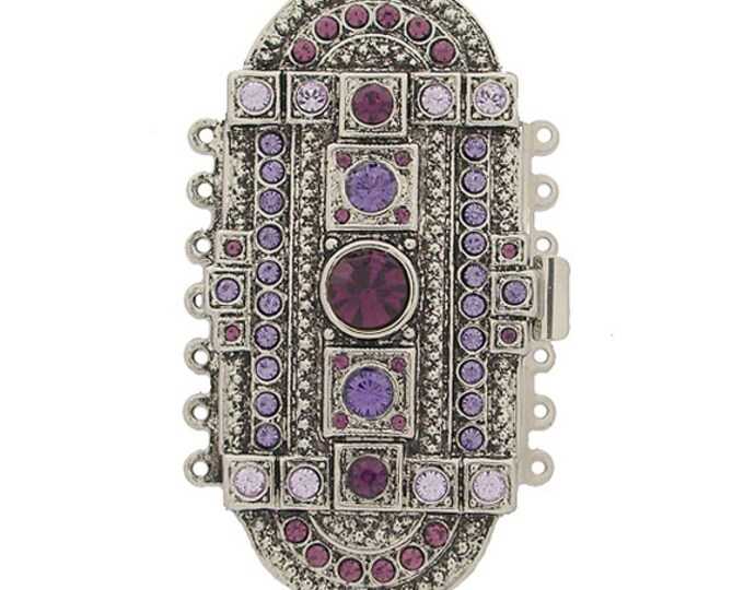 Large 7-Strand Art Deco Box Clasp with Swarovski Crystals in Five Versions, 61x31mm
