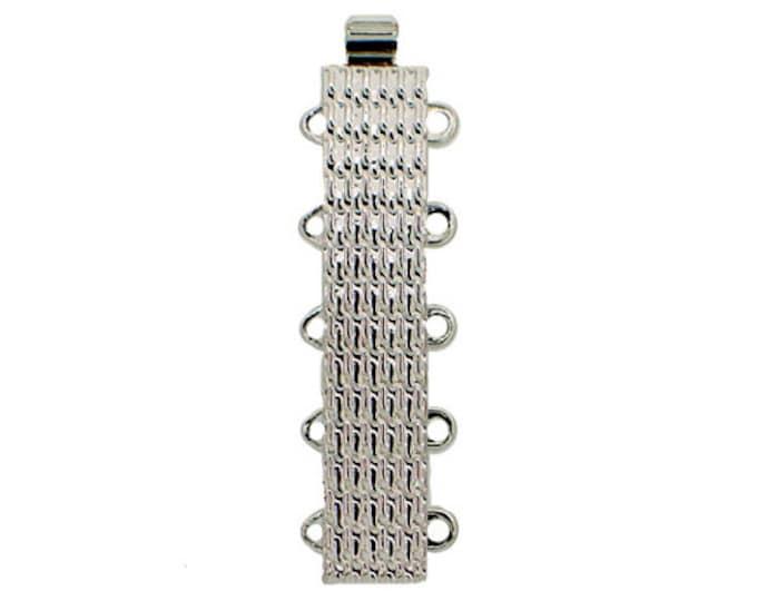 Five-Strand Slider Bracelet Clasp in Patterned Gold or Rhodium Finish, 30x6mm