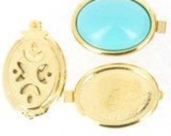 One or Three-Strand Add-Your-Own Cabochon Oval Bezel Clasp in Gold or Rhodium Finish, 20x16mm