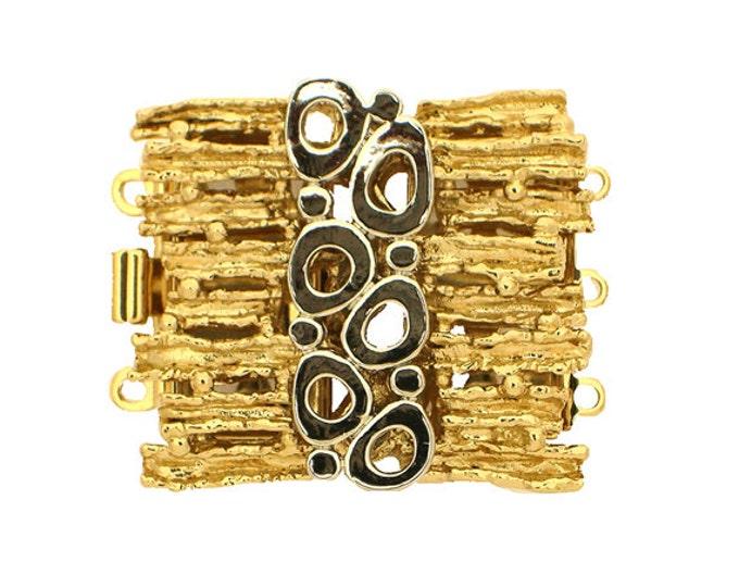 Mixed-Metal Three-Strand Organic-Boho Box Clasp in Gold or Rhodium Finish, 27x23mm