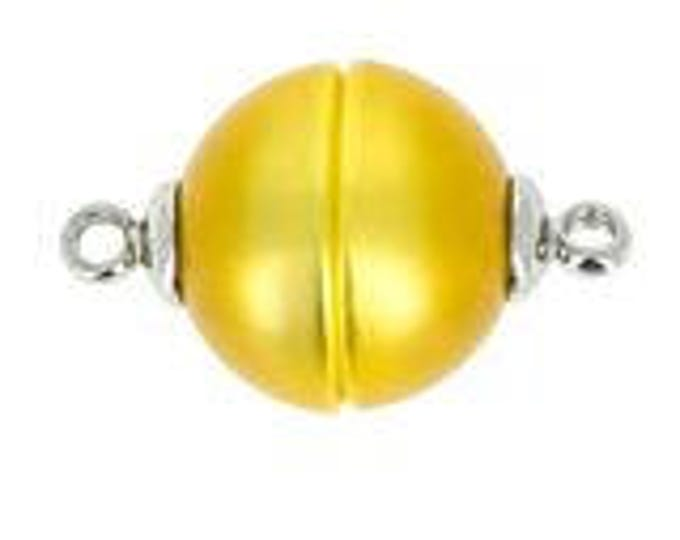 12mm Polaris Magnetic Clasps with Rhodium End Caps in Yellow, Two Finishes