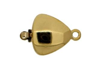 One-Strand Triangular Clasp in Gold or Rhodium Finish, 12x12mm