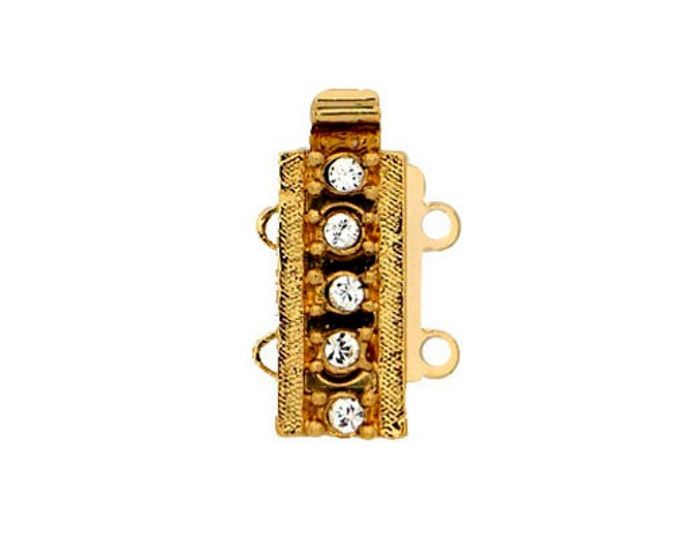 Two-Strand Slider Tube Clasp with Swarovski Crystals in Rhodium or Gold Finish, 13.5x6mm