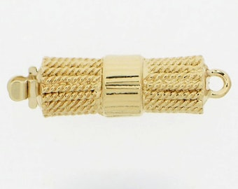 One-Strand Twisted Wire Box Clasp in Rhodium and Gold Finish, 19x7mm
