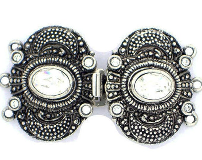 Ornate Three-Strand Edwardian Double Clasp with Swarovski Crystals in Old Palladium or Old Gold, 39x22mm