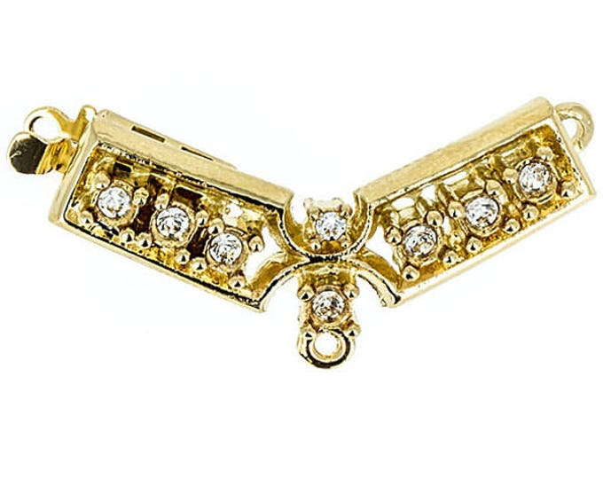 One-Strand Narrow Swarovski Crystal Festoon Clasp in Gold or Rhodium Finish, 28x10mm