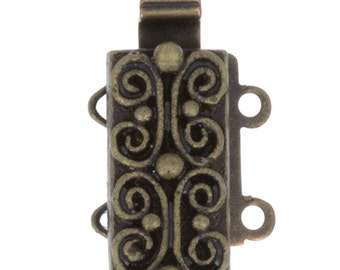Scroll-Patterned Two-Strand Slider Clasp in Antique Brass, 13x6mm