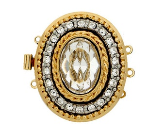 Three-Strand Edwardian Oval Clasp in Gold or Rhodium Finish with Large Oval Swarovski Crystal Center, 24x29mm