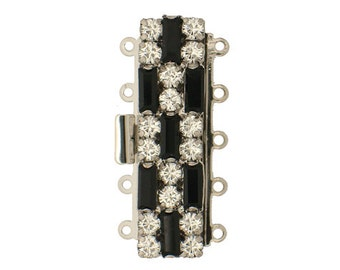 Five-Strand Art Deco Black and White Clasp with Swarovski Crystals in Rhodium Setting, 10x38mm