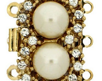 Three-Strand Double Pearl Necklace Clasp with Swarovski Crystals in Gold or Rhodium Finish, 13x21mm