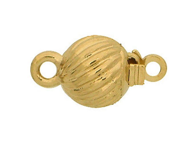 Small, One-Strand Ball Box Clasp in Rhodium or Gold Finish, 7mm