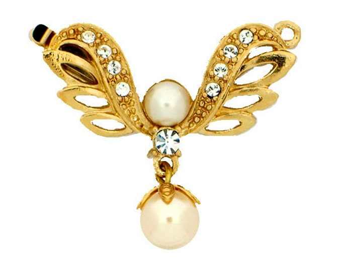 One-Strand Edwardian Pearl and Swarovski Crystal Festoon Necklace Clasp in Gold or Rhodium, 28x18mm