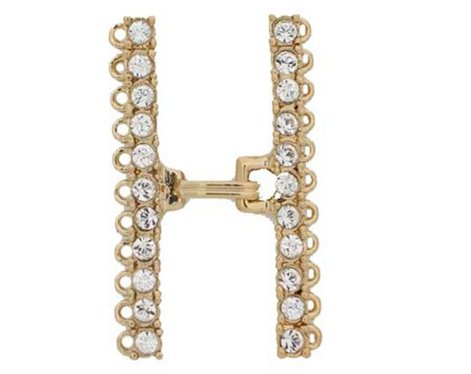 Eleven-Strand Hook and Eye Clasp with Swarovski Crystals in Gold or Rhodium, 39.5x20mm