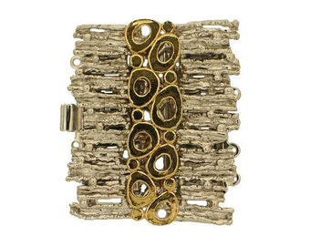 Mixed-Metal Five-Strand Organic Bracelet Clasp in Gold and Rhodium, 32x28mm