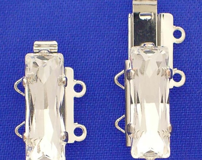 Smallest, Two-Strand Swarovski Crystal Baguette Slider Clasp in Rhodium or Gold Finish, 15x5mm