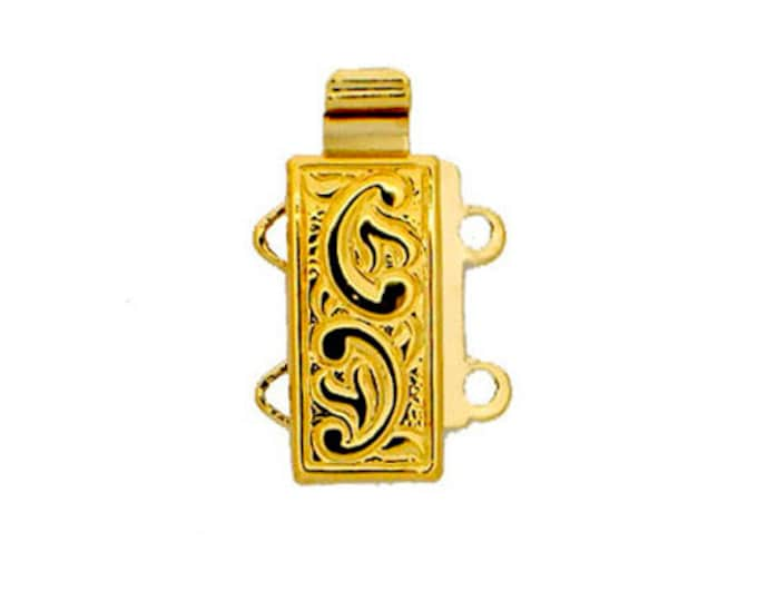 Two-Strand Leaf-Patterned Slider Clasp (Tube Clasp) in Gold or Rhodium Finish, 12x6mm