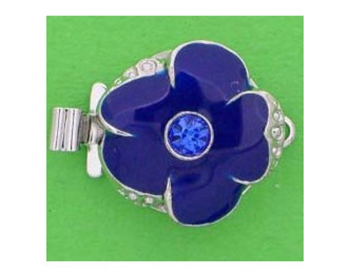 Small One-Strand Sapphire Enamel Flower Clasp with Swarovski Crystal Center in Gold or Rhodium Finish, 13mm