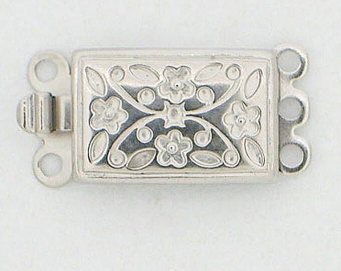 Floral-Patterned Three-Strand Clasp in Sterling Silver and Light Gold, 16x9mm