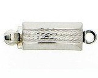 One-Strand Rectangular Box Clasp with Horizontal Rope Detailing in Sterling Silver, 5x9.5mm