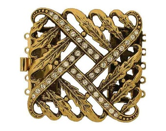 Five-Strand Large Open-Work Box Clasp in Two Antique Finishes with Swarovski Crystals,  34x40mm