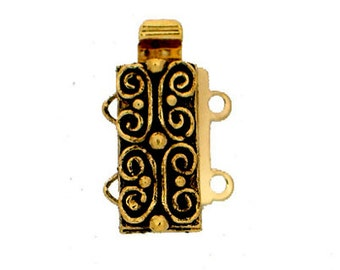 Scroll-Patterned Two-Strand Slider Clasp in 2 Antique Finishes, 13x6mm