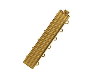 Six-Strand Add-Your-Own Delicas Clasp in Rhodium or Gold Finish, 38x7mm