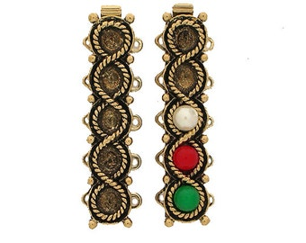 Add-a-Bead (or Chaton) Five-Strand Slider Bracelet Clasp in Rhodium or Antique Gold Finish, 32.5x7mm
