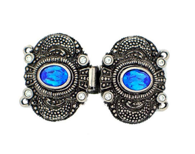 "Ornate Two-Strand Edwardian Double Clasp in Antique ""Silver"" with Sapphire Crystals, 36x22mm"