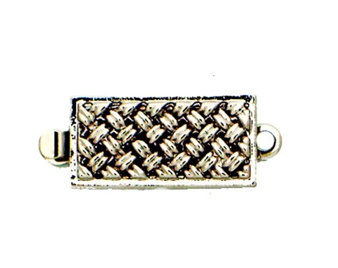 One-Strand Basket Weave Clasp in Gold or Rhodium, 14x7mm