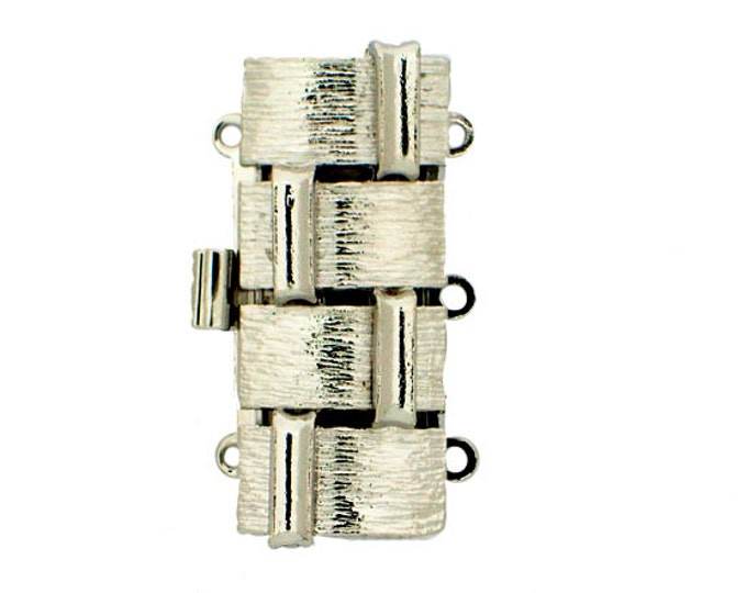 Larger Three-Strand Basket Weave Cuff Clasp in Sparkling Gold and Rhodium Finishes, 26x12mm