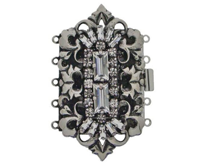 Five-Strand Rococo Cuff Bracelet Clasp in Old Palladium with Swarovski Crystals, 55x30mm