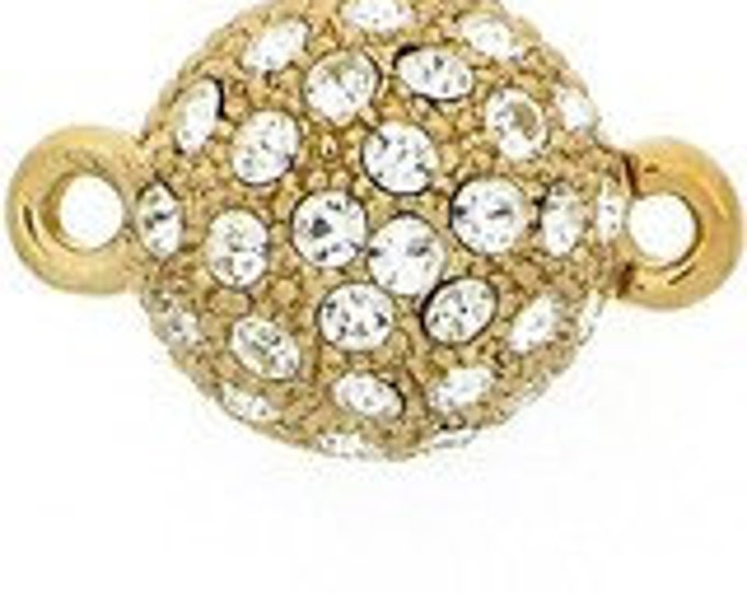 Magnetic One-Strand Swarovski Crystal-Studded Ball Clasp in Rhodium or Gold, 12mm