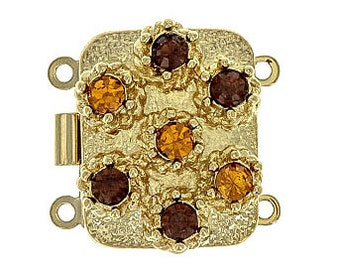 Two-Strand  Clasp with Topaz and Smoked Topaz Swarovski Crystals in Gold Finish, 19x15mm