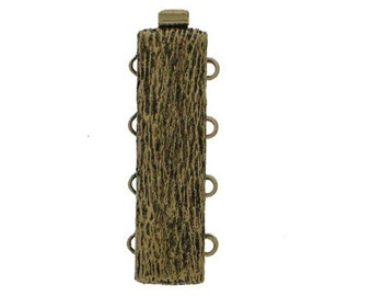 """Four-Strand """"Tree Bark"""" Slider Clasp in Old Palladium or Old Gold Finish, 10x28mm"""