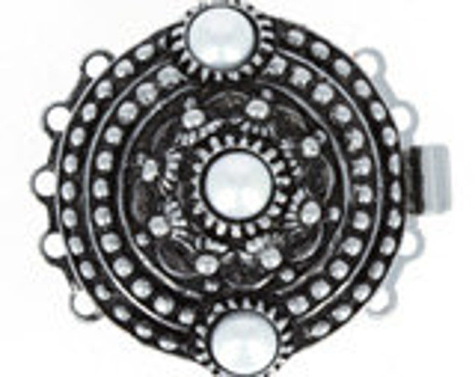Large, Five-Strand Engraved Round Box Clasp in Two Antique Finishes with Three Pearls, 27mm