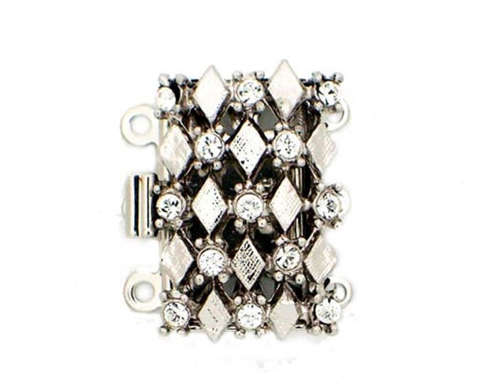 Three-Strand Harlequin Pattern Clasp with Swarovski Crystals in Gold or Rhodium Finish, 20x13mm