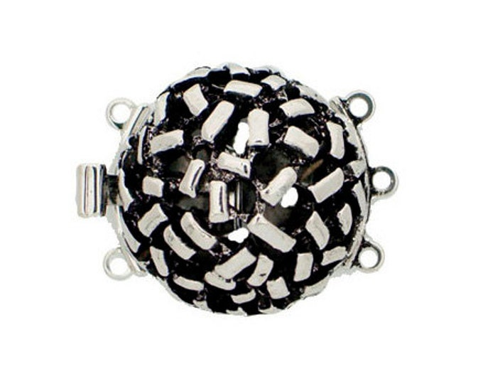 Three-Strand Round Open-Work Domed Clasp in Two Antique Finishes, 18.5mm