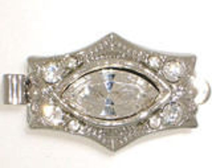 One-Strand Six-Sided Box Clasp in Rhodium or Gold Finish with Swarovski Crystals, 18x12mm
