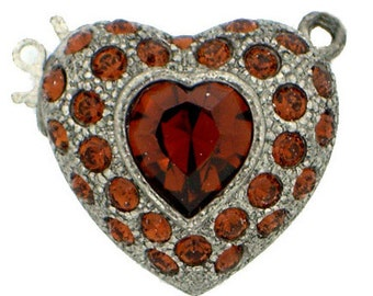 One-Strand Wedding-Perfect Swarovski Crystal-Covered Heart Fishhook Clasp in Tin Finish, 19x20mm
